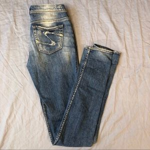 Silver Jeans Audrey Distressed Skinny Jeans Size 24